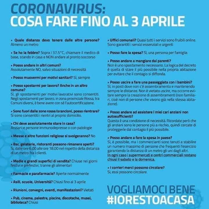 Coronavirus Il Nuovo Decreto Iorestoacasa Estende A Tutta Italia Le Limitazioni Delle Aree Piu Colpite Citta Di Latiano